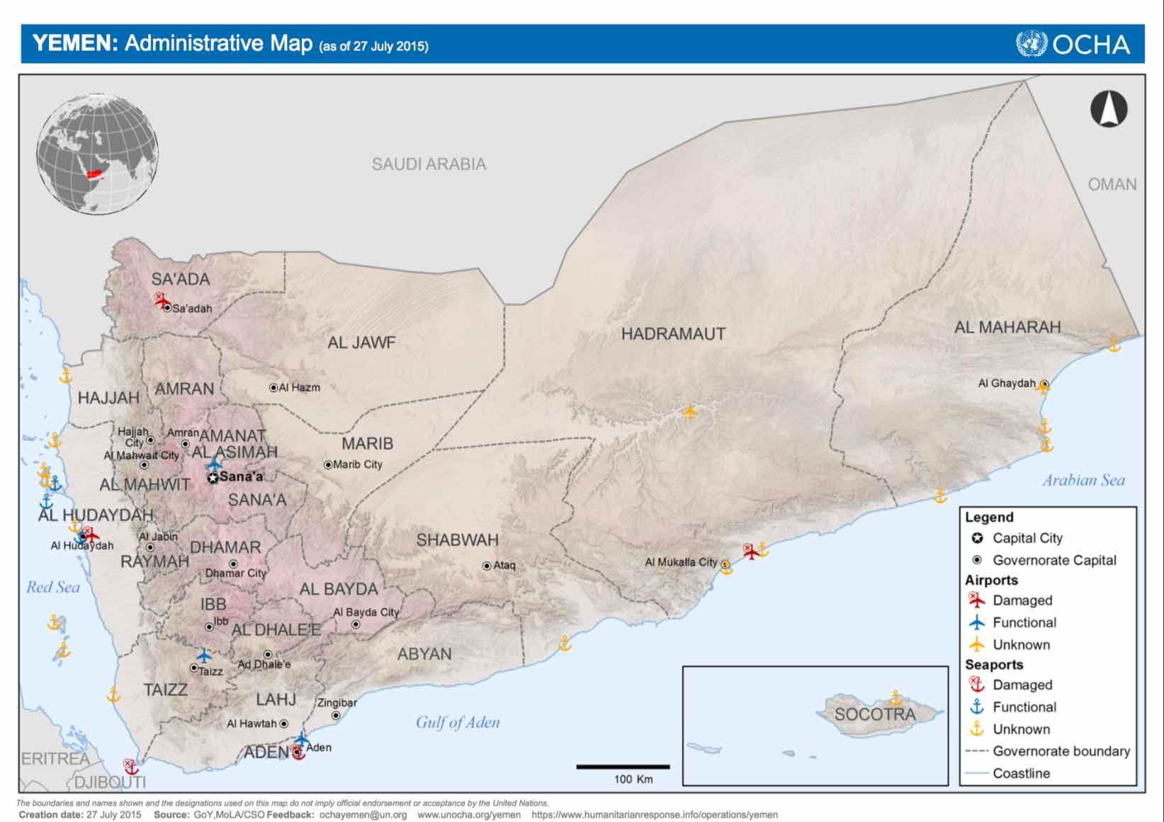 Yemen Administrative Seaports Airports
