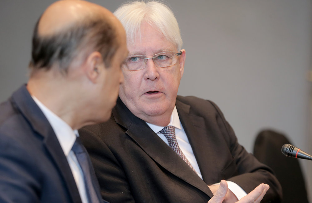 From left to right: The UN Special Envoy for Yemen, Martin Griffiths, and his Deputy, Muin Shreim