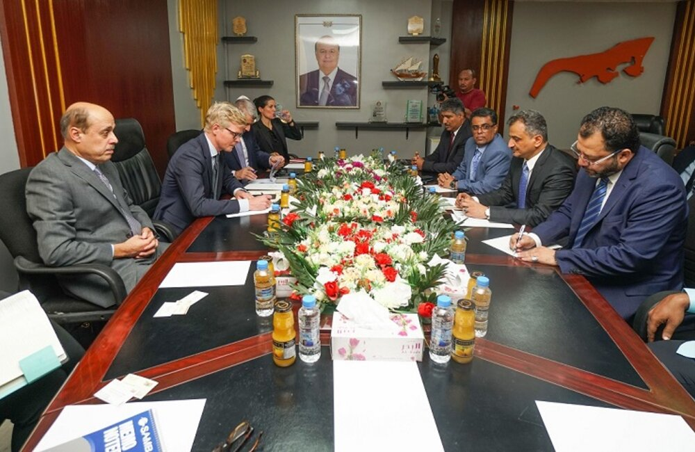 UN Special Envoy for Yemen, Hans Grundberg meets with the Governor of Aden, Ahmed Lamlas. Photo by: OSESGY