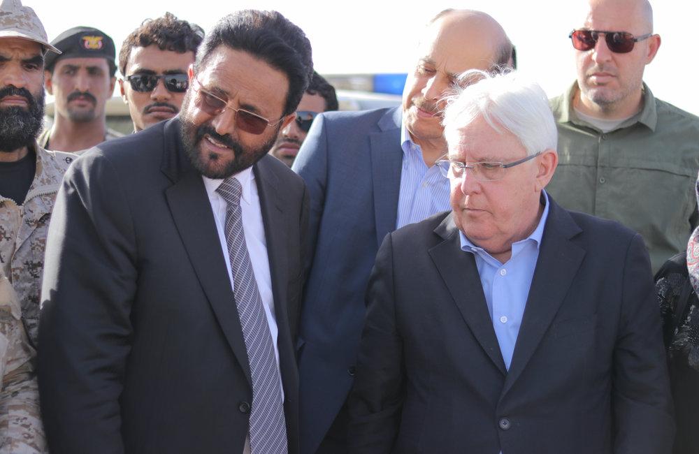 UN Special Envoy for Yemen, Martin Griffiths, and Governor Sultan Al-Arada