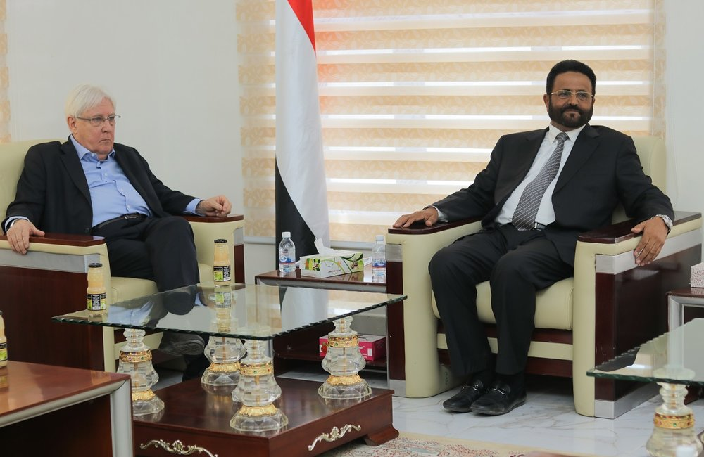 UN Special Envoy for Yemen, Martin Griffiths, meets with the Governor of Marib, Sultan Al-Arada