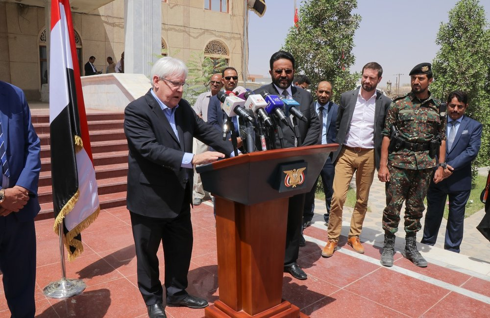UN Special Envoy for Yemen, Martin Griffiths, address the media during his visit to Marib