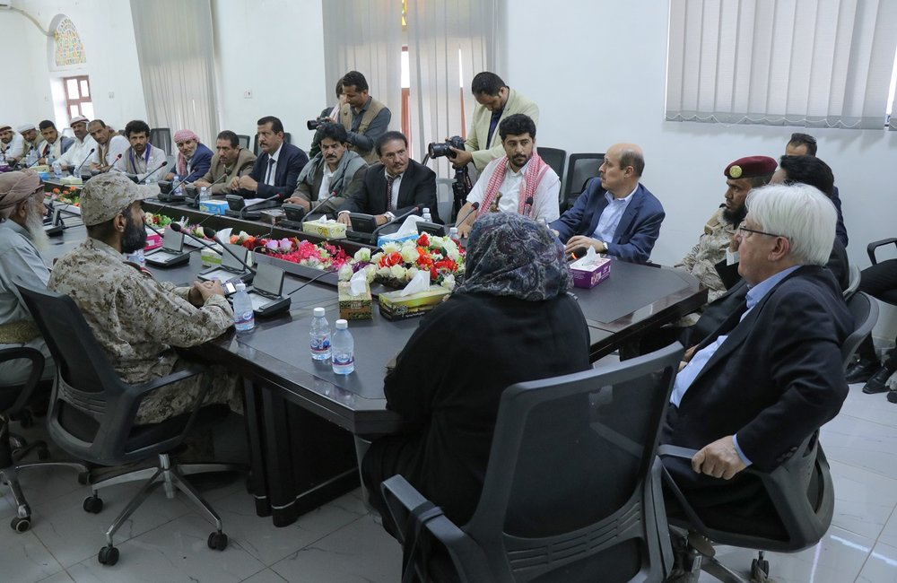 UN Special Envoy for Yemen, Martin Griffiths, meets with local government officials and tribal leaders