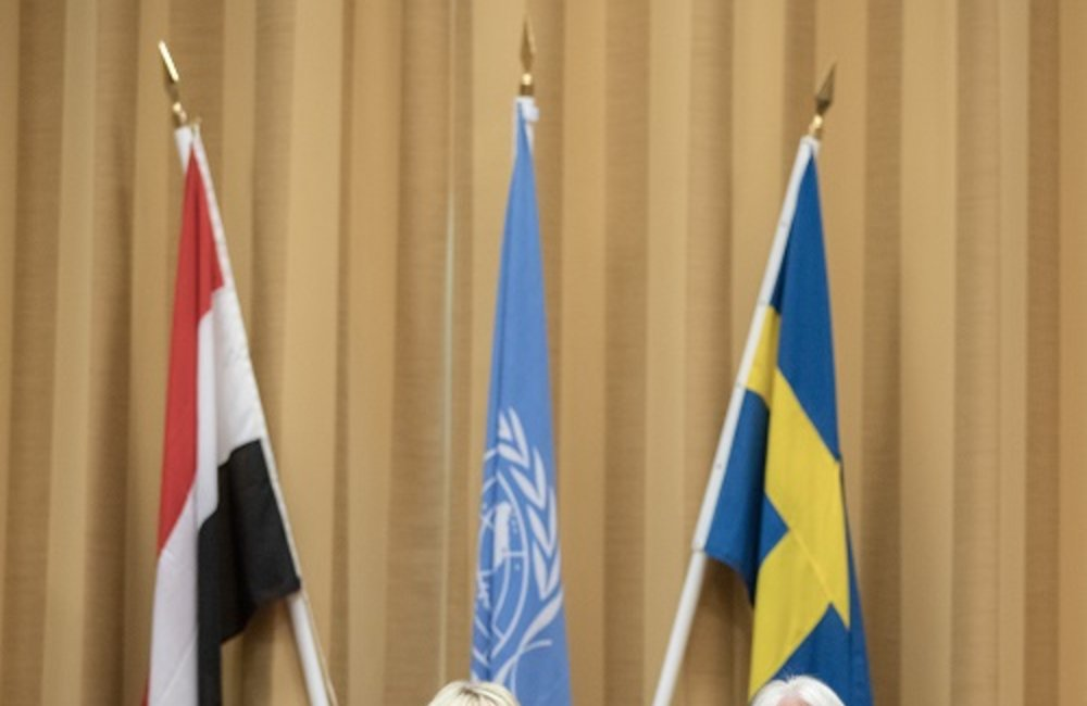 The Foreign Minister of Sweden, Margot Wallström, and the Special Envoy of the Secretary General for Yemen, Martin Griffiths addressed the opening session of the consultations, and held a joint press conference. (Photo Credit: Ninni Andersson/Government Offices of Sweden)