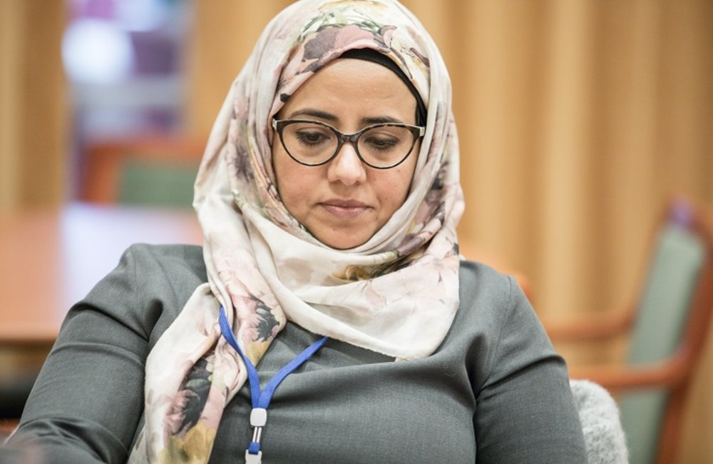 Rana Ghanem; Assistant Secretary General of the Nasseriet Organization, and member of the Governemt of Yemen's delegation. The UN urged both parties to fullfill their obligation to include 30% of women representation in the official delegations. (Photo Credit: Ninni Andersson/Government Offices of Sweden)