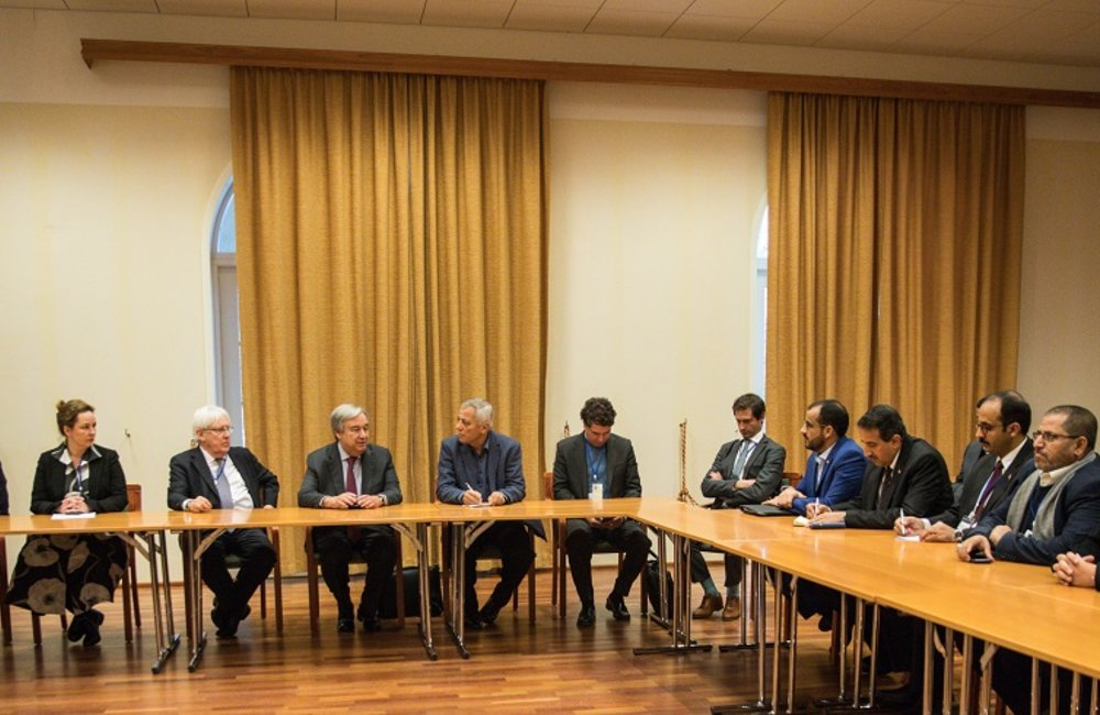 SG Guterres also met with the Ansar Allah delegation, right before the closing session.(Photo Credit: Ninni Andersson/Government Offices of Sweden/UN Pool)