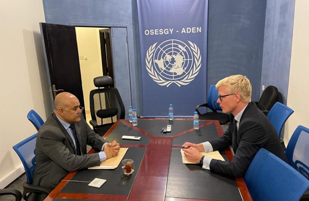 UN Special Envoy for Yemen Hans Grundberg meets with Governor of Taiz Nabil Shamsan in Aden. Photo by: OSESGY