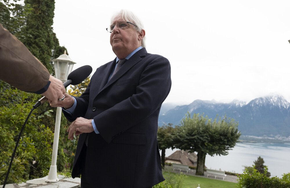 Martin Griffiths, United Nations, Special Envoy for Yemen interviewe by UNTV during the closing plenary of the meeting of the Supervisory Committee on the Implementation of the Prisoner's Exchange Agreement in Yemen today at the Victoria Hotel in Glion in Switzerland. @UN Photo/Jean Marc Ferré