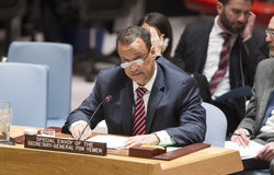 Ismail Ould Cheikh Ahmed, the Secretary-General's Special Envoy for Yemen, briefs the Security Council. 17 February 2016. UN Photo/Loey Felipe